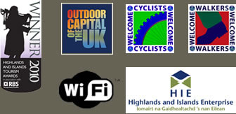 Logos: 3 star Bed and Breakfast, Outdoor Capital of the UK, Cyclist Welcome, Walkers Welcome, WIFI, Highlands and Islands Enterprise
